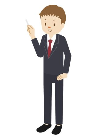 Illustration of a cram school teacher(male) teaching Vettoriali