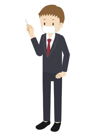 Illustration of a cram school teacher(male) wearing a mask and teaching Vettoriali