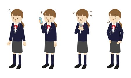 Illustration set of 4 poses of a female High school student standing Illustration