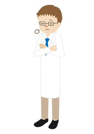 Illustration of a male doctor standing (sighing with arms folded)