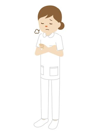 Illustration of a standing female nurse (sighing with arms folded)
