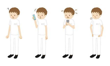 Conjunto de ilustraciones de 4 poses de un millón de trabajadores médicos (fisioterapeuta) de pie
