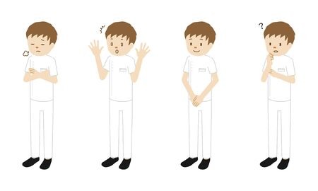 Illustration set of 4 poses of a million medical worker (physiotherapyist) standing