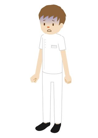 Illustration of a million medical worker (physiotherapist) (Look pale)