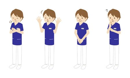 Illustration set of 4 poses of a female medical worker (radiologist) standing  イラスト・ベクター素材