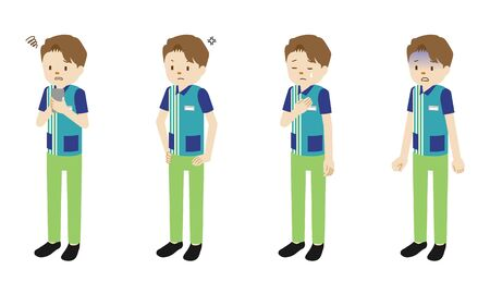 Illustration set of 4 poses of male clerk at convenience store Иллюстрация