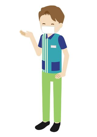 Illustration of a million clerk at the convention store wearing a mask (giving guide)