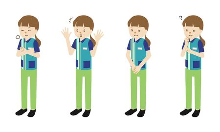 Illustration set of 4 poses of female clerk at convenience store