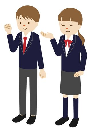 Illustration of male and female high school students
