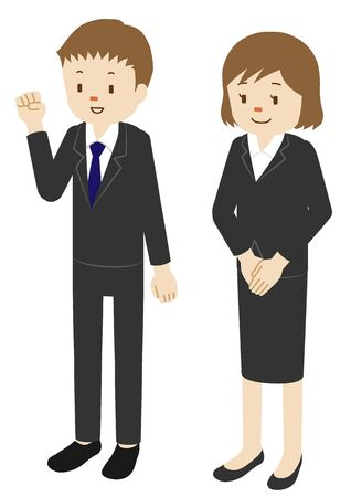 Illustration of male and female doing job hunting