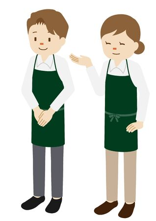 Illustration of male and female baristas