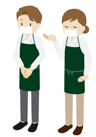 Illustration of male and female baristas wearing a mask Иллюстрация