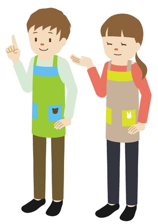 Illustration of male and female nursery teachers wearing an apron