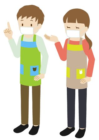 Illustration of male and female nursery teachers wearing an apron and mask