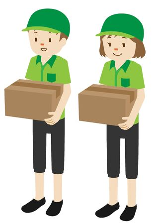 Illustration of male and female courier delivery persons