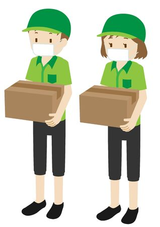 Illustration of male and female courier delivery persons wearing a mask
