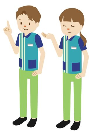 Illustration of male and female clerks at convenience store