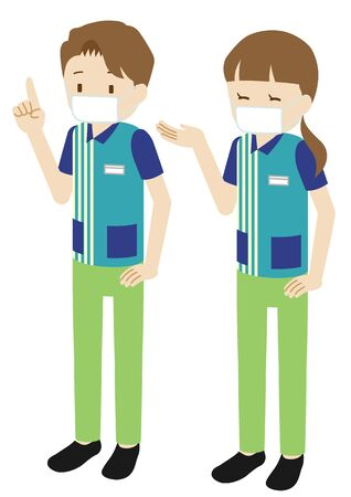 Illustration of male and female clerks at convenience store wearing a mask