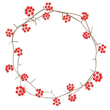 Illustration of Christmas wreath made with Smilax rhizome Иллюстрация