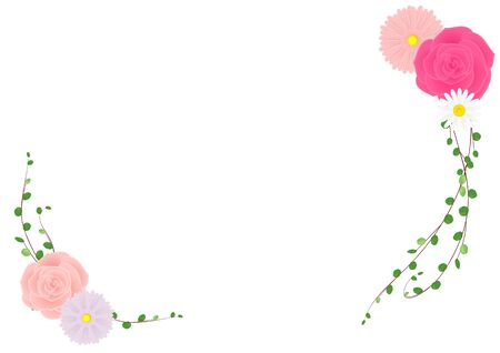 Illustration of rose and gerbera (Vectorillation of frame on white background)  イラスト・ベクター素材