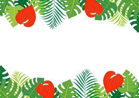Tropical background frame illustration (Monstera, Areca palm, anthurium) Иллюстрация