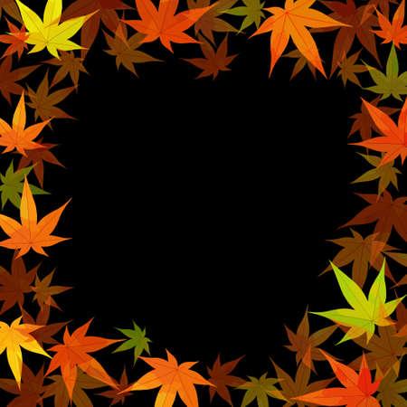 Autumn background illustration (vector, autumn leaves, frame) Иллюстрация