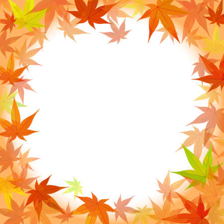 Autumn background illustration (vector, autumn leaves, frame)  イラスト・ベクター素材