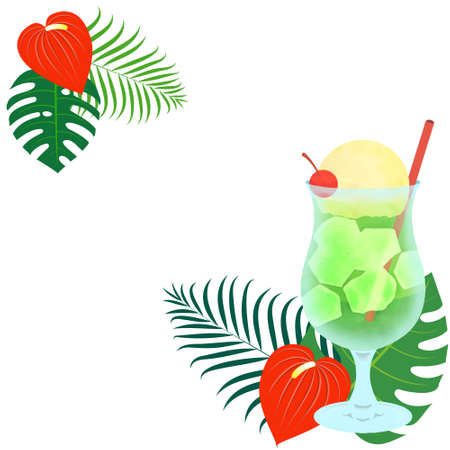 Summer image illustration (cream soda and tropical plants)