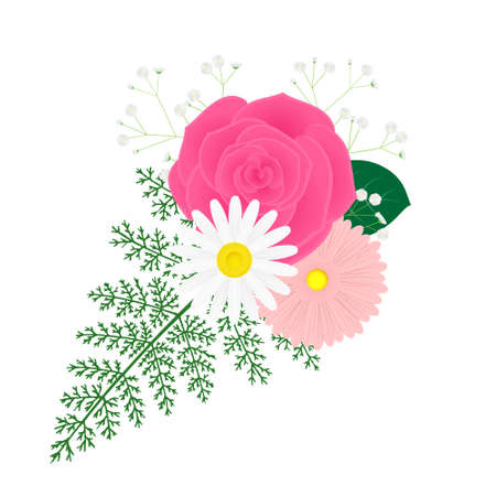 Illustration of a small bouquet of rose and African daisy