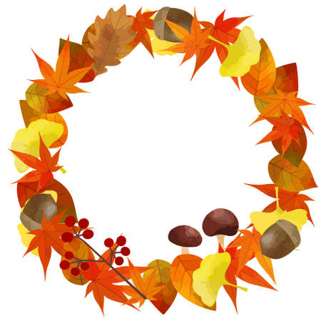 Vector illustration material of autumn frame (autumn leaves wreath)
