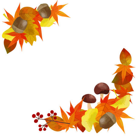 Vector illustration of autumn frame (Place autumn leaves material on the diagonal of the white background)