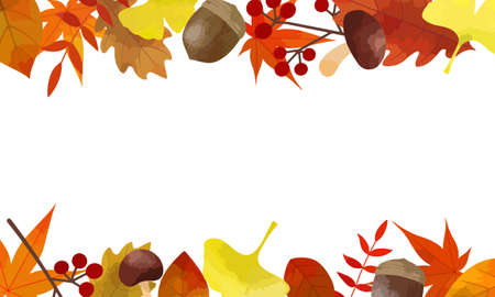 Vector illustration of autumn frame (Place autumn leaves material on the top and bottom of the white background)
