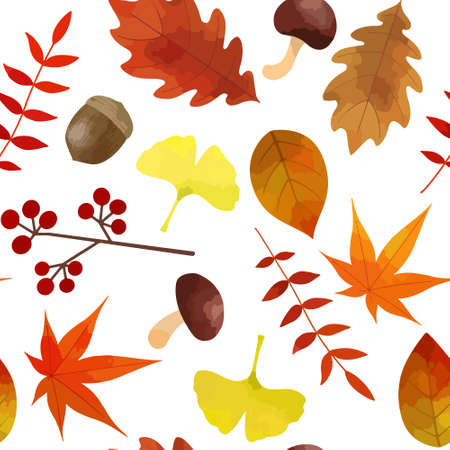 Illustration of autumn seamless pattern (material of autumn leaves and mushrooms scattered on a white background)