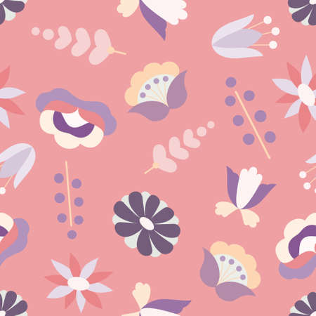 Illustration of floral seamless pattern (Scandinavian design flowers)