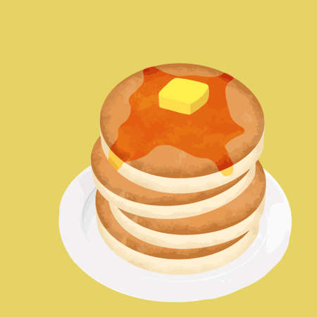 Illustration of pancakes on a plate (with maple syrup and butter)