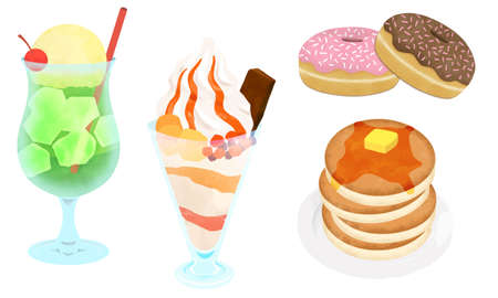 Set of sweets illustrations (pancakes, donuts, parfaits, soda floats)