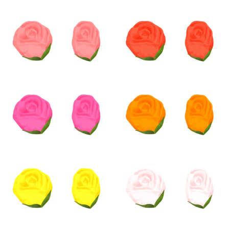 6 color rose vector illustration set on white background Иллюстрация