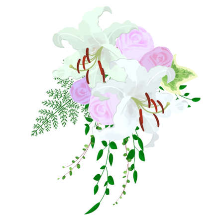 Illustration of Casablanca (lily) and rose wedding bouquet (boutonniere)