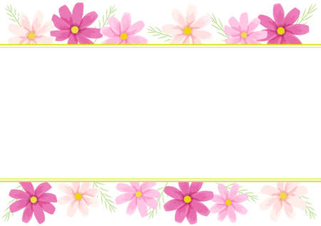 Vector illustration of cosmos frame (flower material on the top and bottom of the white background)
