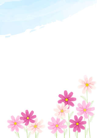 Cosmos illustration background material (blue sky and flowers)