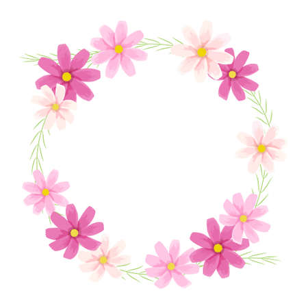 Vector illustration of cosmos frame (flower wreath)  イラスト・ベクター素材