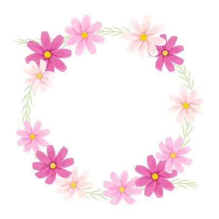 Vector illustration of cosmos frame (flower wreath) Иллюстрация