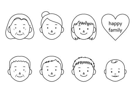 Set of 3 generation family face illustrations (mom, dad, grandmother, grandfather, girl, boy, baby)  イラスト・ベクター素材