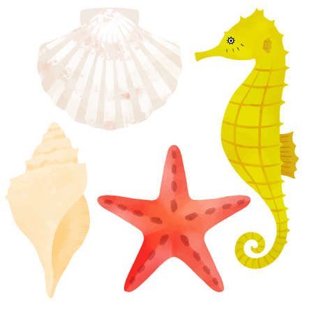 Sea creatures vector illustration set on white background  イラスト・ベクター素材