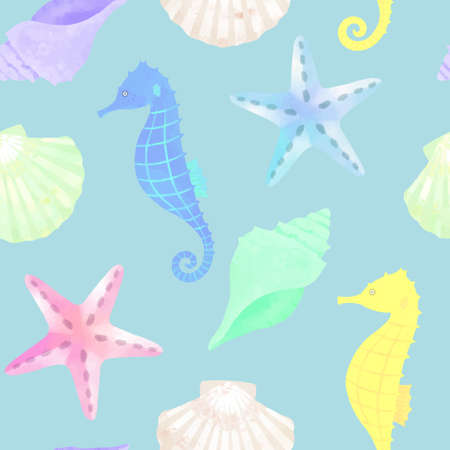 Vector illustration seamless pattern of summer images (sea creatures)