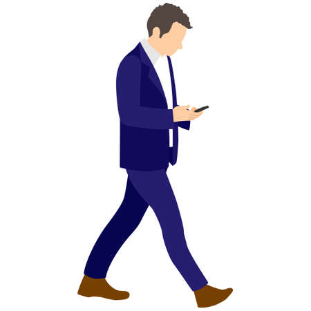 Illustration of a man walking while using a smartphone