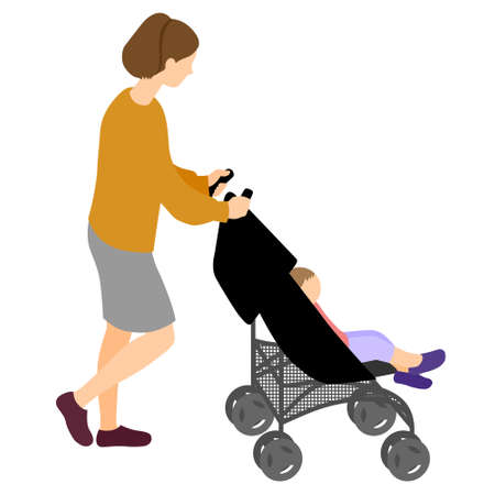 Illustration of a Woman Walking Pushing a Stroller with Children