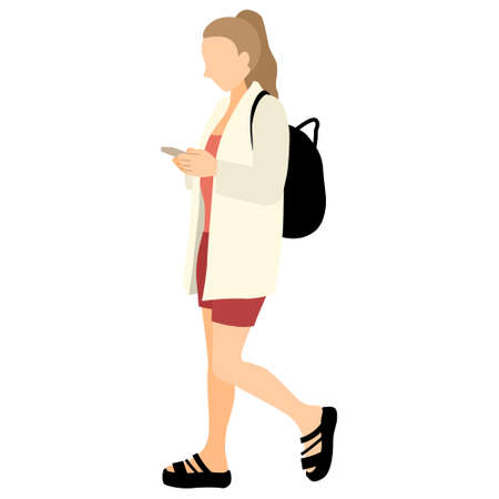 Illustration of a woman walking while using a smartphone