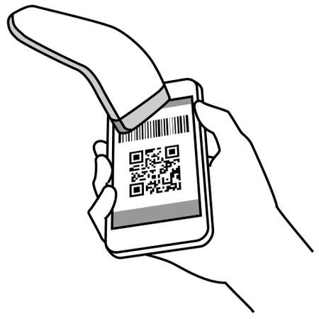 Illustration of operating a smartphone (making an electronic payment)
