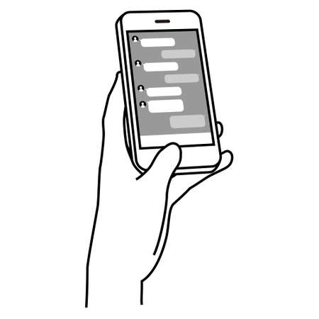Illustration of operating a smartphone (looking at social media)